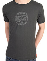 bamboo jersey yoga t-Shirt | om mantra | charcoal | eggplant