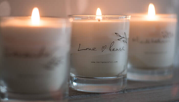 hand poured love & peace candle #4