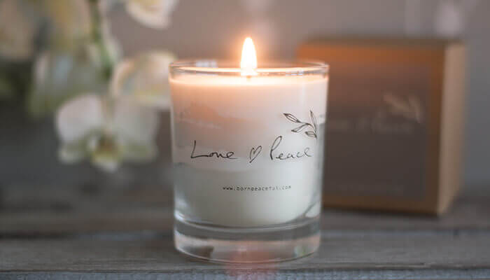 hand poured love & peace candle #5