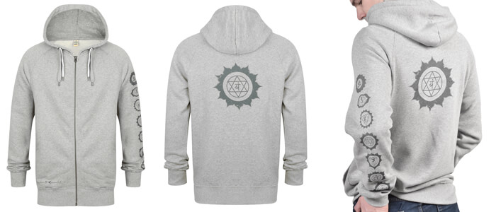 organic chakra hoodie | heather grey marl
